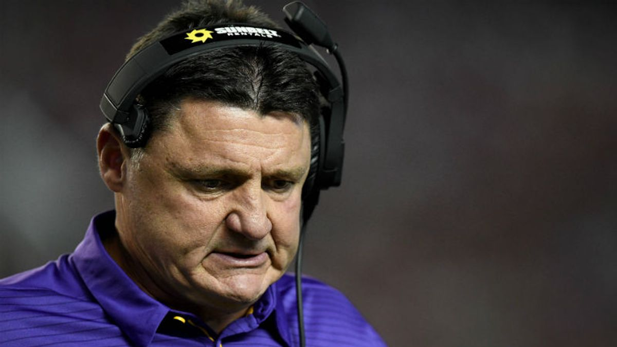 Which SEC Coach Will Be Fired First? Oddsmakers Tab Ed Orgeron as Favorite article feature image