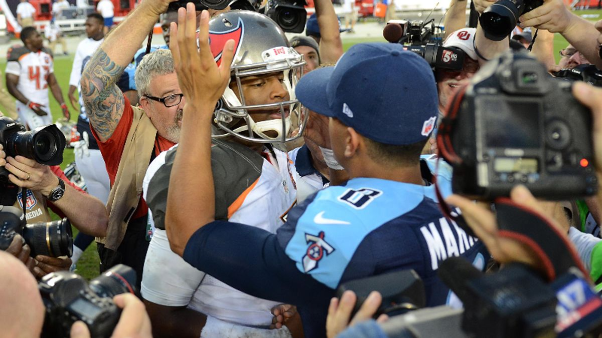 Titans vs. Buccaneers Preseason Betting Odds: Jameis Winston, Marcus Mariota Face Off article feature image