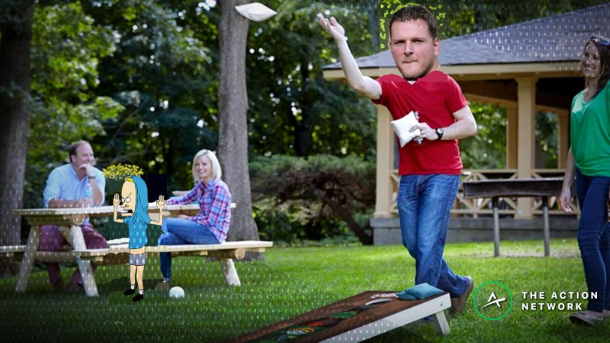 Can Pat McAfee Score More Than 23.5 Cornholes in 5 Minutes? article feature image