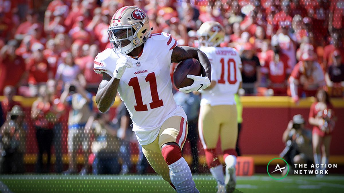 Best 49ers-Packers MNF Player Props: Marquise Goodwin Over/Under 44.5 Receiving Yards? article feature image