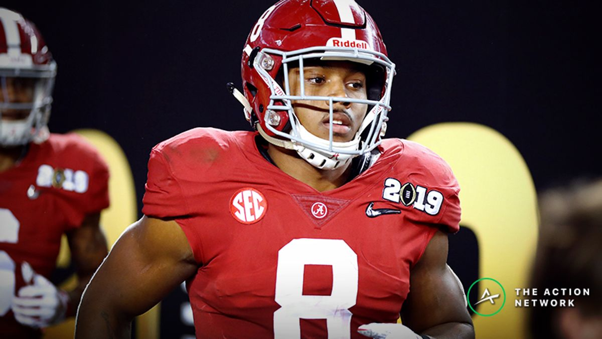 Josh Jacobs NFL Combine Prop Bets: Over/Under 4.5 Seconds in 40-Yard Dash? article feature image