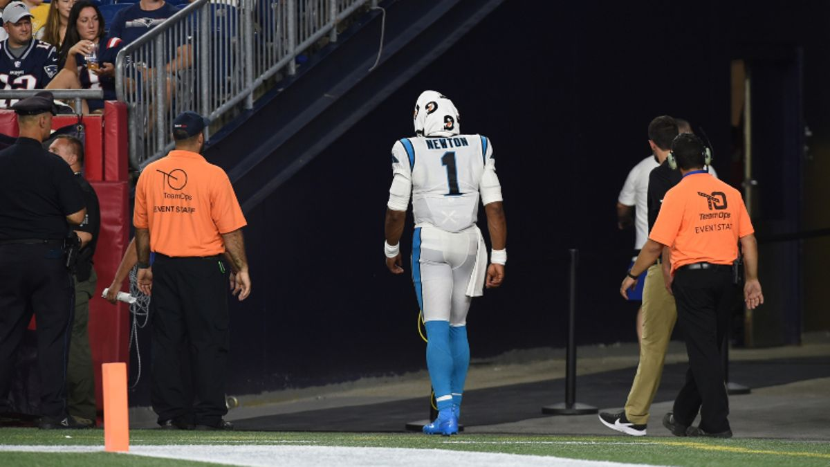 Cam Newton Ankle Injury Impacting Rams vs. Panthers NFL Week 1 Betting Odds article feature image