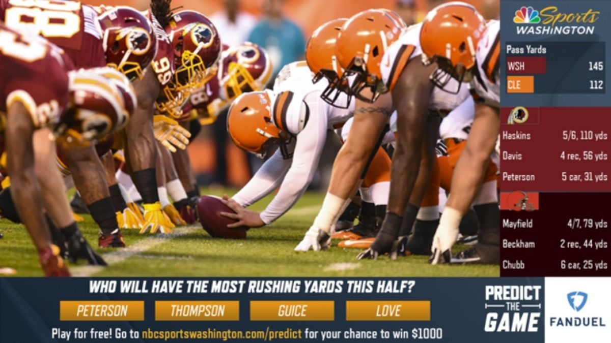 Rovell: Redskins, NBC Sports Get NFL'S Approval for First Predictive-Gaming Live TV Broadcast article feature image