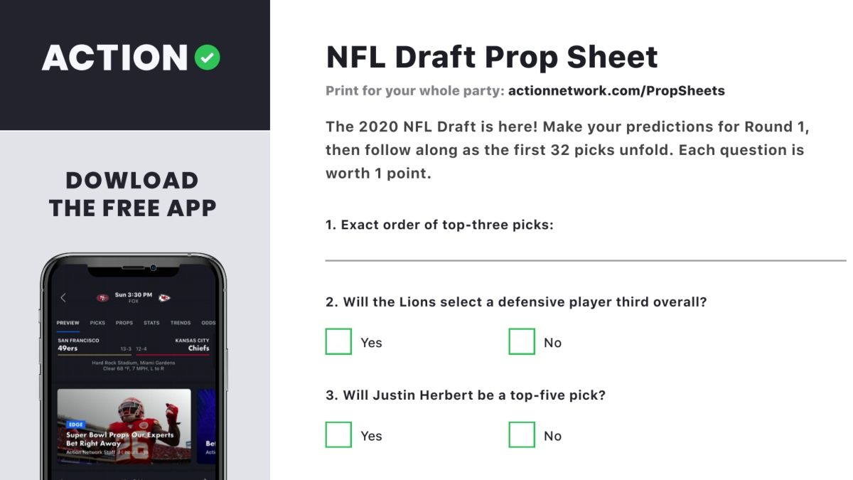 2020 NFL Draft Prop Sheet: Make Your First-Round Pick Guesses With Our Printable Contest article feature image