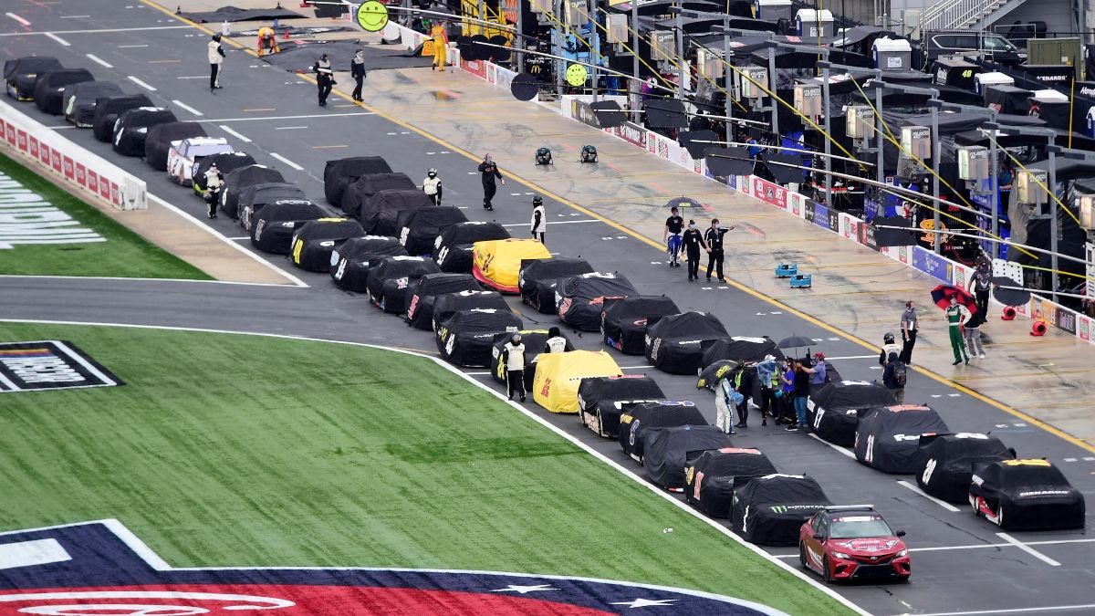NASCAR at Charlotte Wednesday Weather Forecast: Rain Expected to Interrupt Tonight's Alsco Uniforms 500 article feature image
