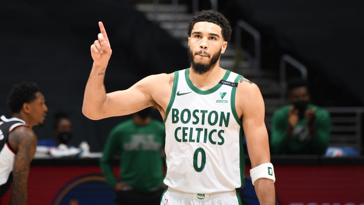 NBA Odds & Picks for Celtics vs. Nets: Sharps Expecting High-Scoring Duel Between Jayson Tatum & Kevin Durant (May 22) article feature image