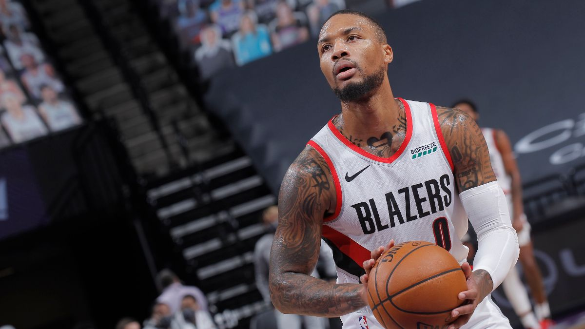 NBA Odds & Picks for Nuggets vs. Trail Blazers: PRO Systems Backing Damian Lillard & Portland To Cover (May 29) article feature image