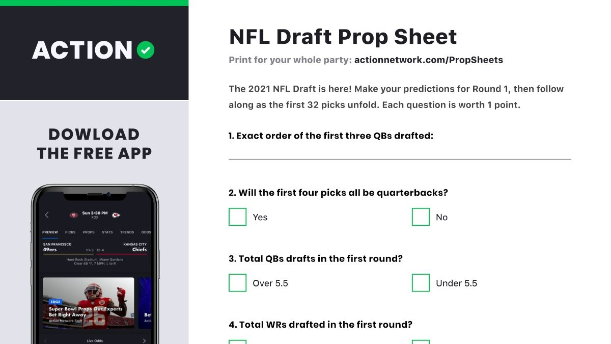 NFL Draft Prop Betting Sheet: Make Your 2021 Predictions For Round 1 article feature image