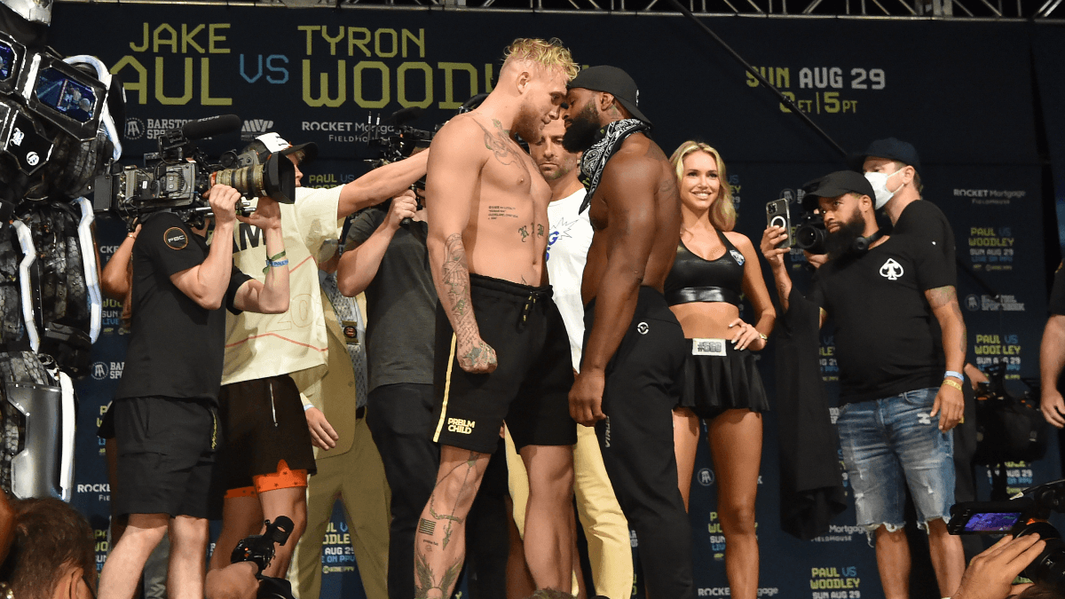 Jake Paul vs. Tyron Woodley Market Report: Bets Favor UFC Star in Sunday's Boxing Match article feature image