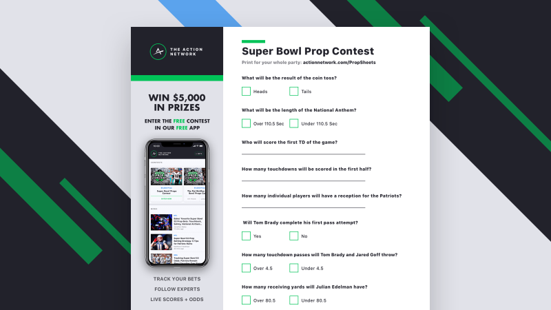 image about Printable Super Bowl Prop Bets titled Printable Tremendous Bowl 53 Prop Bets Sheet: Maintain Rating Throughout