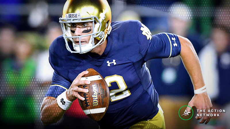 Notre Dame Quarterback Ian Book Out vs. Florida State; Some Books Pull Title Odds article feature image