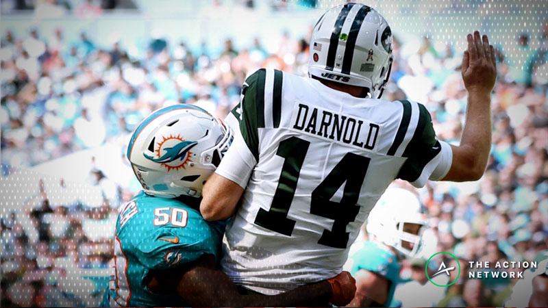Sam Darnold Foot Injury Moving Bills-Jets Week 10 Betting Line article feature image