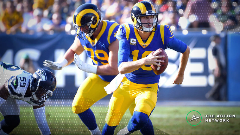Best Chiefs-Rams MNF Props: Over/Under 9.5 Rushing Yards for Jared Goff? article feature image