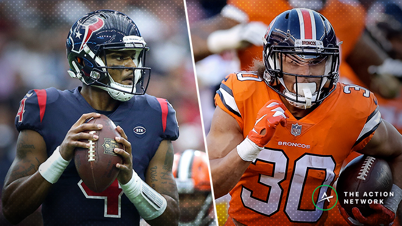 NFL Saturday Cheat Sheet: Betting, Fantasy Football, More for Texans-Jets & Browns-Broncos article feature image