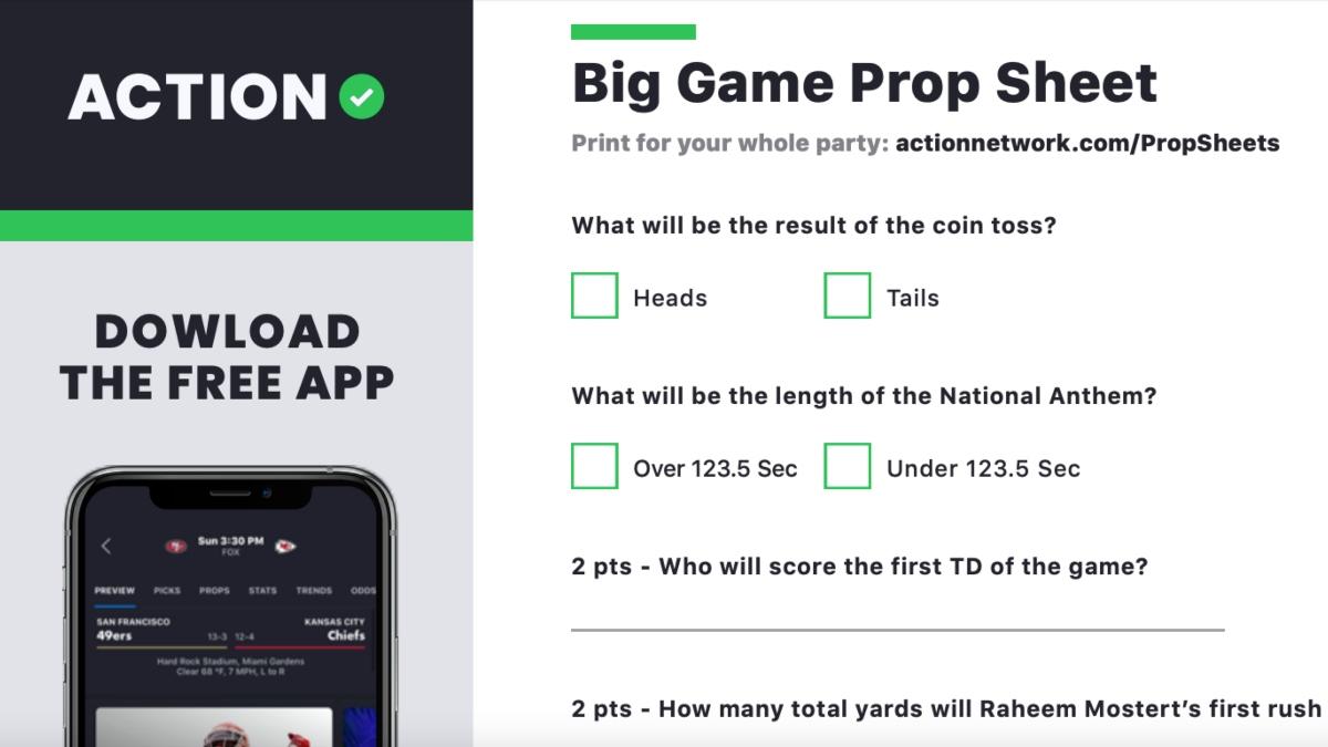 Printable Super Bowl 54 Prop Bets Sheet, 49ers vs. Chiefs article feature image