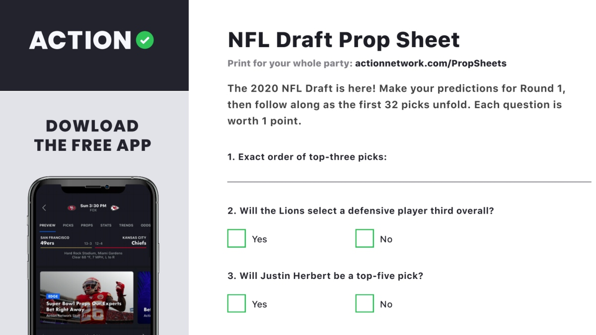 2020 Nfl Draft Prop Sheet Make Your First Round Pick Guesses With Our Printable Contest The Action Network