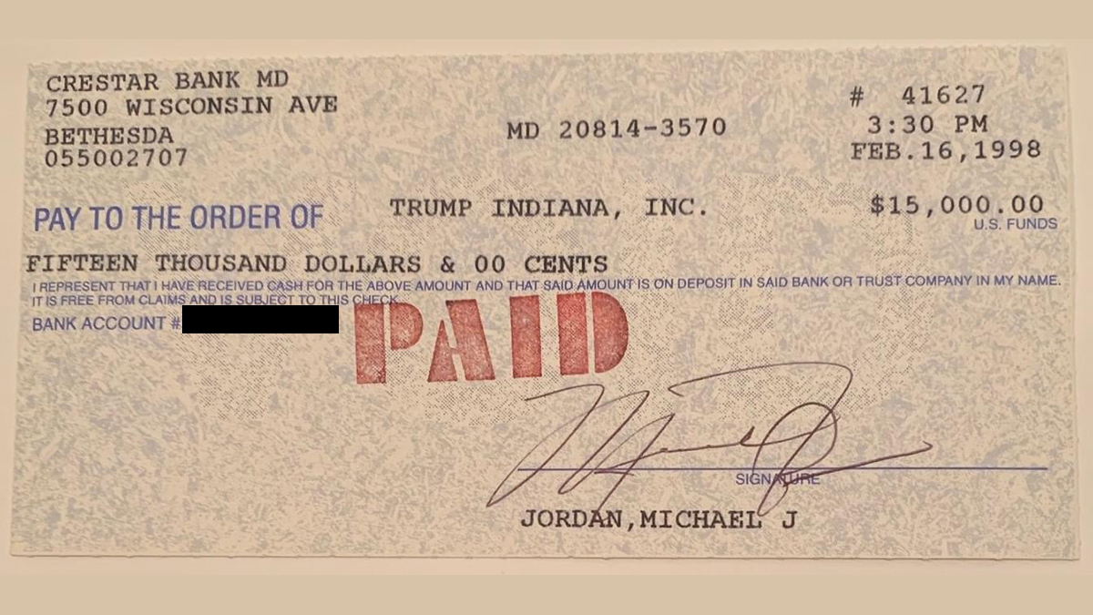 A $15,000 Check from Michael Jordan to Trump Casino Goes Up for Auction article feature image