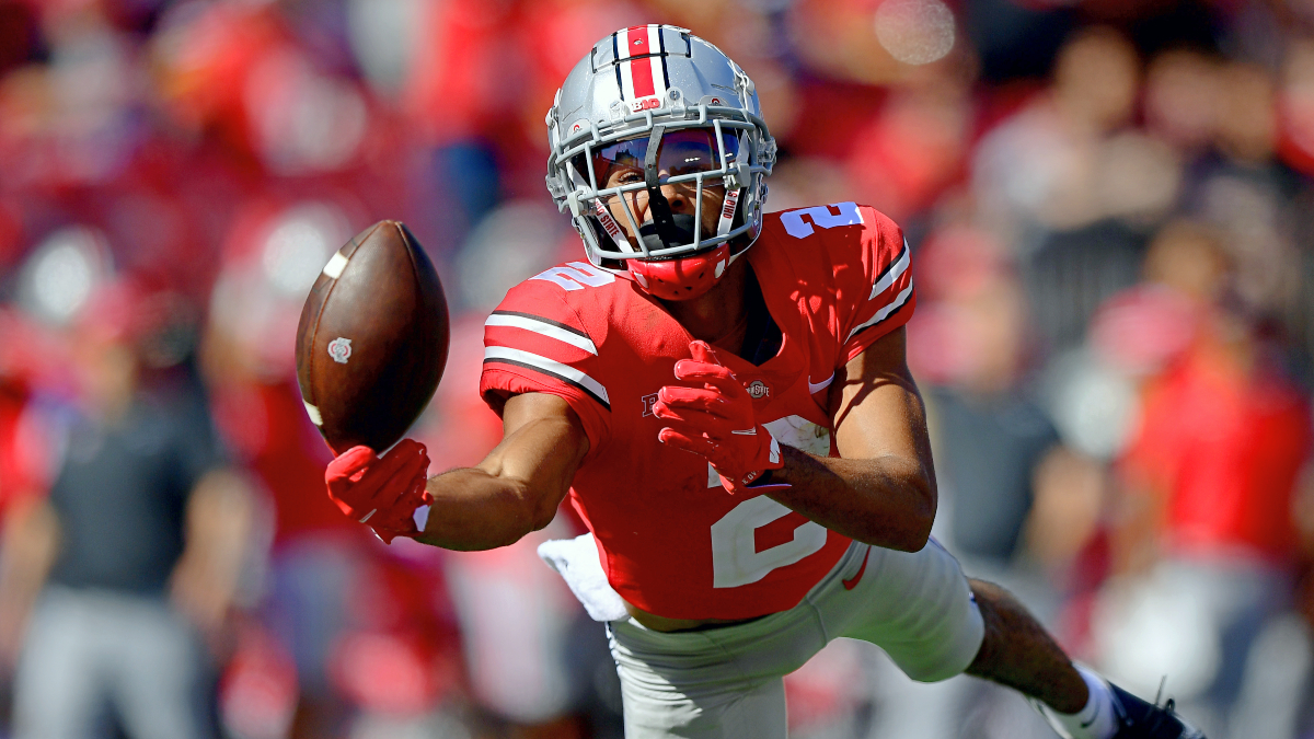 college football-fantasy-cff-cfb dfs-week 8-rankings-top 10-by position-wr-chris olave-ohio state-buckeyes
